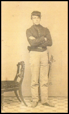 Henry J. Howe , in a similar pose, but earlier in 1861 when he had yet to receive his sergeant's stripes and the yellow stripes down the seams of his pants, the sign of a cavalrymen. (Photo courtesy of Beverley La Forse.)