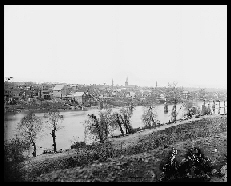 View of Fredericksburg , Va., from the east bank of the Rappahannock River, March 1863, as photographed by Timothy O'Sullivan. (Photo courtesy of the Library of Congress.)