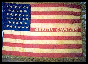 The Oneida Cavalry's flag was given to the Oneida County Historical Society by Mary Tuttle Brewer, a niece of Oneida Cavalry Captain James E. Jenkins, sometime before her death in 1962. (Photo by W. R. Mayer)