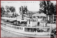 (Courtesy Madison County Historical Society) The Sagamore, a 98-foot steamship launched in 1908, carried up to 600 passengers to Sylvan Beach from the Syracuse trolley terminal at South Bay, a one and-three-quarter hour trip at 50 cents a head. Thirty-five licensed passenger steamers reportedly ferried across Oneida lake in the summer of 1910.