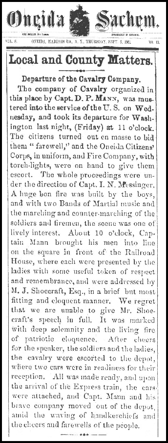 From the Oneida Sachem, Thursday, September 5, 1861,Vol. 8 No. 13 (Oneida Public Library, Microfilm Collection)