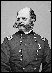 Major General Ambrose E. Burnside , as photographed by the Brady National Photographic Art Gallery, Washington, D.C. (Photo courtesy of the Library of Congress.)