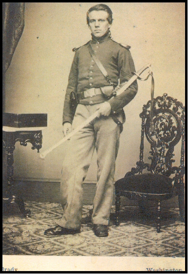 Sergeant Henry J. Howe of the Oneida Cavalry, in late 1861, posing in the Washington, D.C., studio of Matthew Brady. (Photo courtesy of Howe's great-grandniece, Beverley La Forse.)