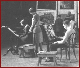 Art class in Oneida High School gymnasium, 452 Elizabeth Street (c.1930)